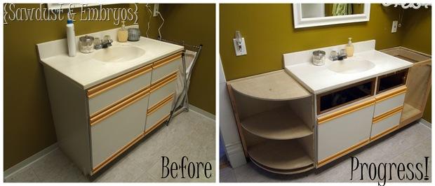 Extending the Bathroom Vanity {Sawdust and Embryos}