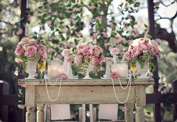 pearls ue garden pink table decor with pearls and milkglass heavenly blooms
