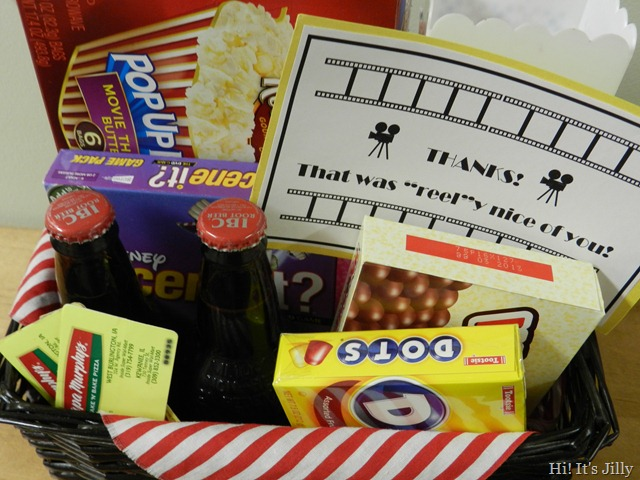 contents of movie themed gift basket