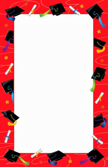 Red hats scrolls graduation invitation