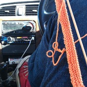 an opportunity to get my knitting on. This project lives in the glove box ready for an opportunity