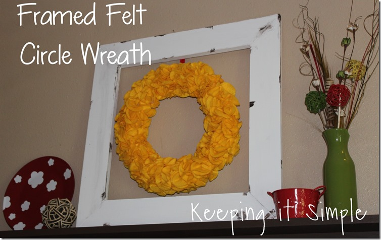 framed felt circle wreath