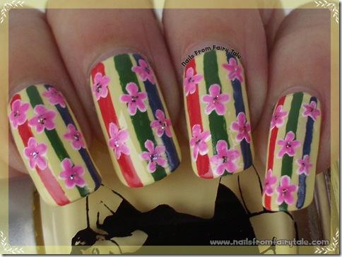 flowers on stripes