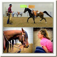 Carly and her horse, making changes with Peter's help