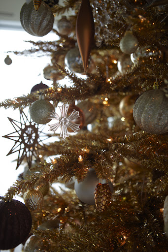 As you can see, I also hung pinecone and walnut ornaments on the tree.