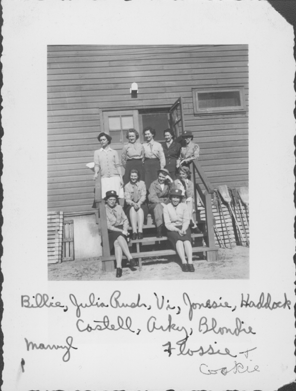 The Women's Army Corps (WACS) upstairs brigade of the T-154 San Bernardino AAF. Includes Billie, Julia Bush, Vi, Jonesie, Haddock, Castell, Arky, Blondie, Marvyl, Flossie, and Cookie. December 1943.