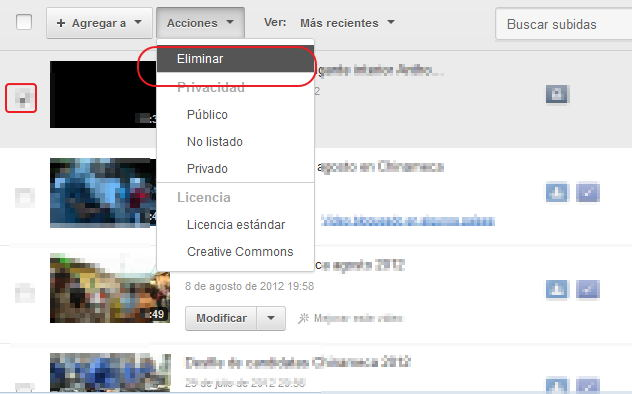 Borrar videos en youtube