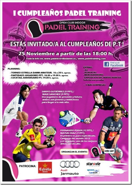 Fiesta I Cumpleaños Club Pádel Training. Estás invitado el 25 de noviembre 2012.