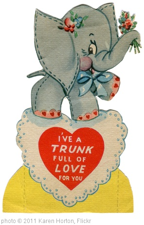 'vintage valentine card: elephant' photo (c) 2011, Karen Horton - license: http://creativecommons.org/licenses/by/2.0/