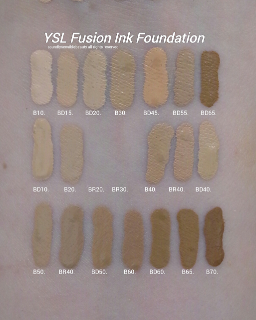(Yves Saint Laurent) YSL Fusion Ink Foundation SPF 18; Review & Swatches of Shades B10 Porcelain, BD15 Warm Buff, BD20 Warm Ivory, B30 Almond, BD45 Warm Bisque, BD55 Warm Praline, BD65 Warm Toffee, BD10 Warm Porcelain, B20 Ivory, BR20 Cool Ivory*, BR30 Cool Almond*, B40 Sand, BR40 Cool Sand, BD40 Warm Sand B50 Honey, BR50 Cool Honey**, BD50 Warm Honey, B60 Amber, BD60 Warm Amber, B65 Toffee, B70 Mocha