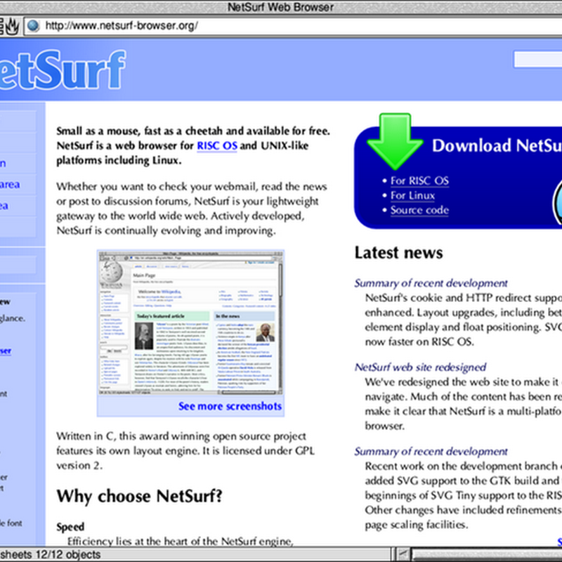 NetSurf web browser open source sotto licenza GPL