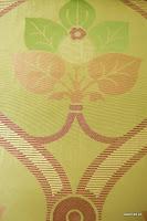 """Tkanina ozdobna typu """"adamaszek"""". Dwustronna. Na zasłony, poduszki, narzuty, dekoracje. Zielona, różowa."""