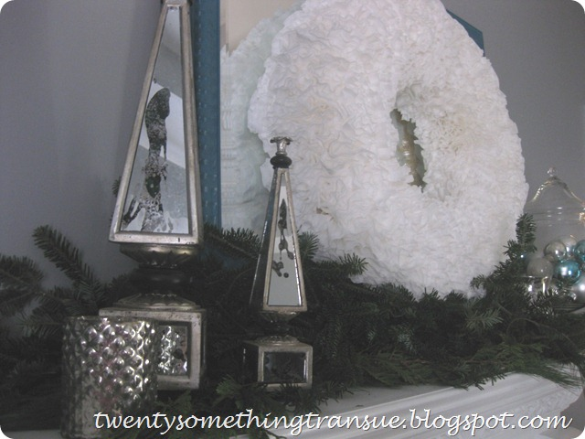 Blue and White Christmas Mantel 5