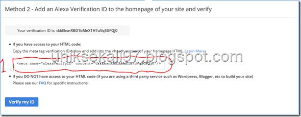 cara verifikasi blog ke alexa