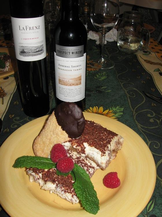 Tiramisu and dessert wines