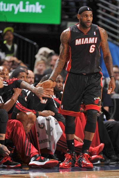 lebron james nba 131230 mia at den 06 LeBron Debuts Alternate Away PE on his Birthday (Carbon finish, no Speckles)