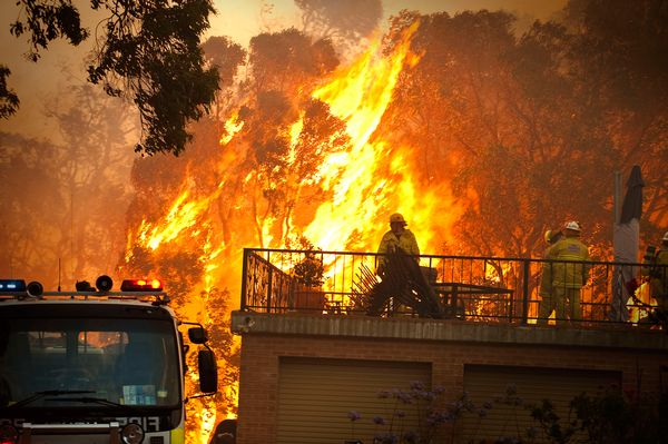 A firefighter battles a wildfire in Perth, Australia. At least 68 homes were lost in the 2011 blaze. Photo: Evan Collis