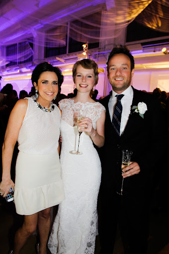 Me and our gorgeous couple. Lisa's Monique Lhuillier dress was stunning on her and he looked perfect for our NYC themed party in Daniel Cremieux for Dillard's.