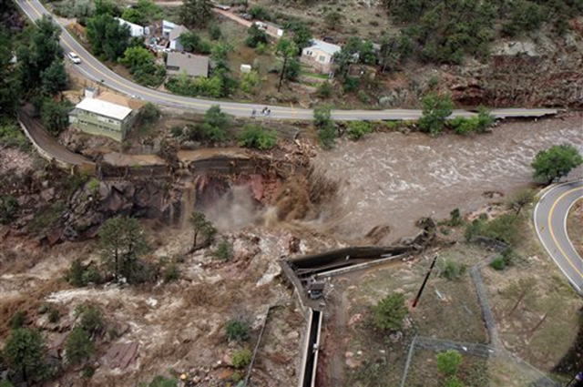 This aerial photo shows a raging waterfall destroying a bridge along Highway 34 toward Estes Park, Colorado as flooding continues to devastate the Front Range and thousands are forced to evacuate with an unconfirmed number of structures destroyed Friday, 13 Septeber 2013. Photo: Dennis Pierce / Colorado Heli-Ops