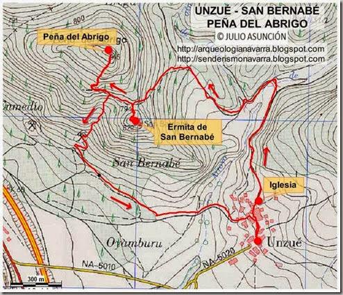 Mapa ruta San Bernabé y Peña del Abrigo
