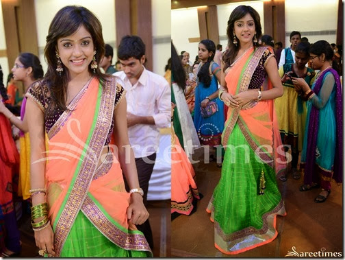 Vithika_Green_Peach_Half_Saree