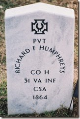 HUMPHREYS_Richard F_headstone_1864_SpotsylvaniaConfederateCemetery_Spotsylvania Co VA