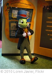 'Jiminy Cricket at Conservation Station at Rafiki's Planet Watch' photo (c) 2010, Loren Javier - license: http://creativecommons.org/licenses/by-nd/2.0/