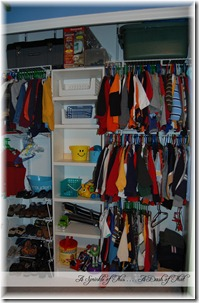 Closet Organization with toys {A Sprinkle of This . . . . A Dash of That}