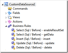 Business rules of a data controller based on a stored procedure displayed in Project Explorer of Code On Time app generator for desktop and mobile devices.