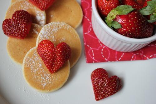 Valentine's Day Breakfast Heart Strawberry Pancakes