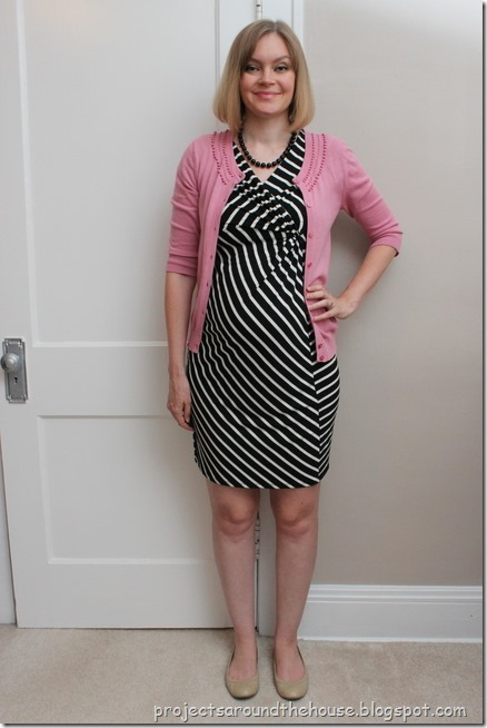 blakc and white striped dress, pink cardigan