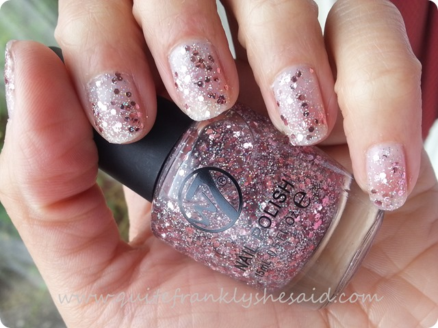 W7 Pink Debris silver pink glitter clear polish seche vite