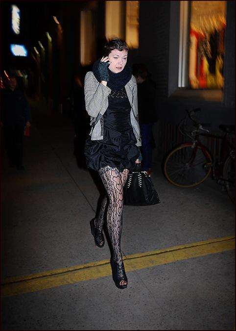 2 w black mini dress gathered bottom black and white short jacket pattern stockings fingerless gloves ol