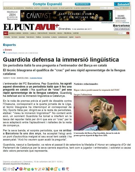 Guardiola e lo jornalista italian ElPuntAvui 160911