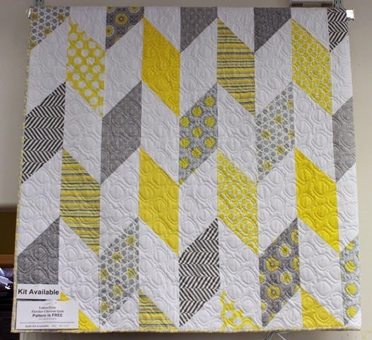 Yellow and Gray chevron quilt