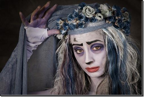 disfraz de novia cadaver maquillaje