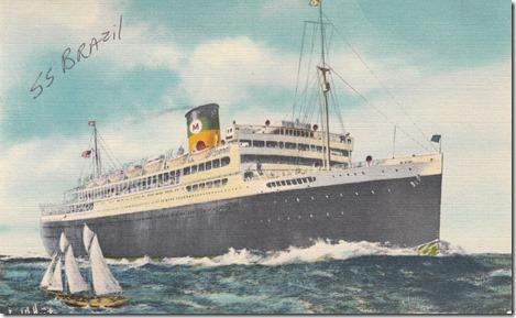 S.S. Brazil Vintage Postcard