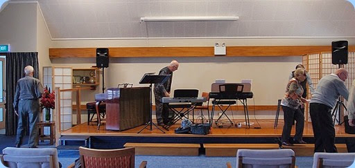 Setting-up for the Concert. Photo courtesy of Dennis Lyons