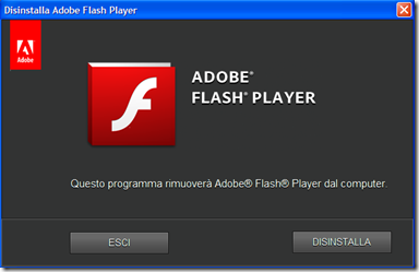 Disinstalla Adobe Flash Player