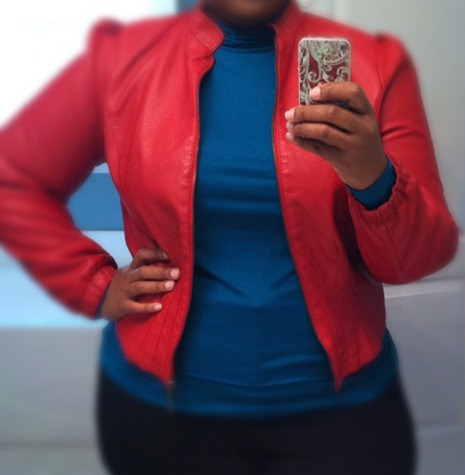 Ashley Stewart red jacket