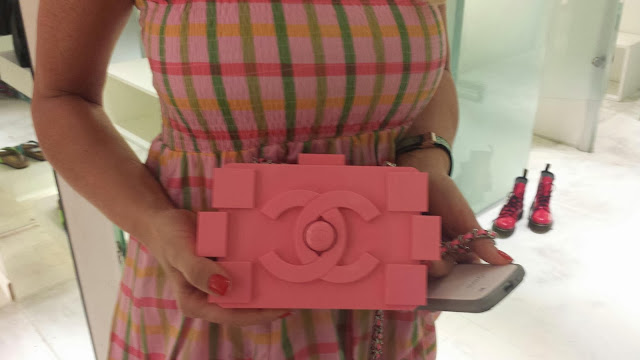 chanel lego bag pink