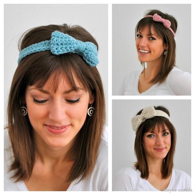 Crochet Bow Headband Pattern in 3 sizes: little bow, medium bow, and big bow! // www.maybematilda.com