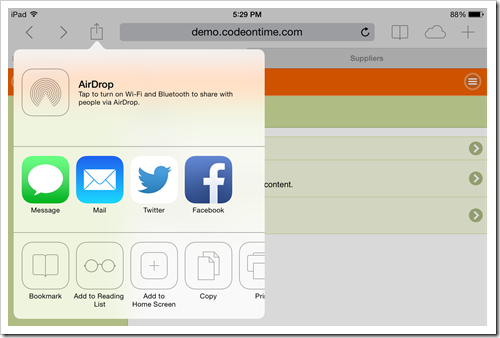 Select 'Share|Add to Home Screen' option to add web app created with Code On Time to home screen of iOS device.