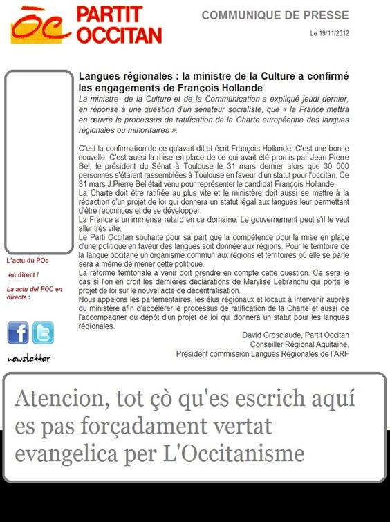 comunicat del Partit Occitan Lenga de França