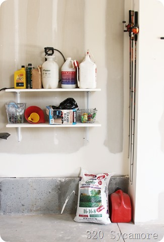 simple shelves in garage
