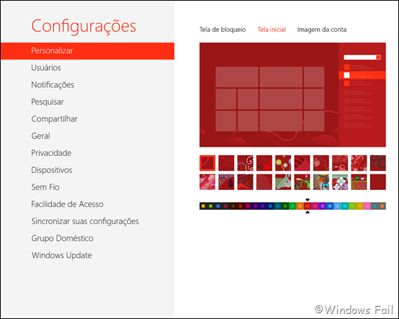 Personalize a tela inicial do Windows 8 a sua preferência