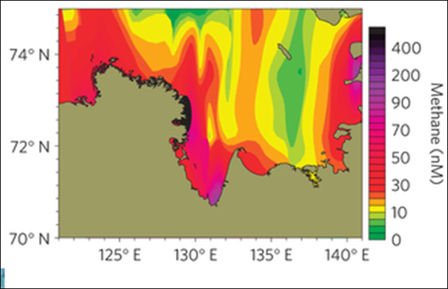 Observed areas of methane hotspots from submarine permafrost on the East Siberian Arctic Shelf. Graphic: Shakhova, et al., 2013