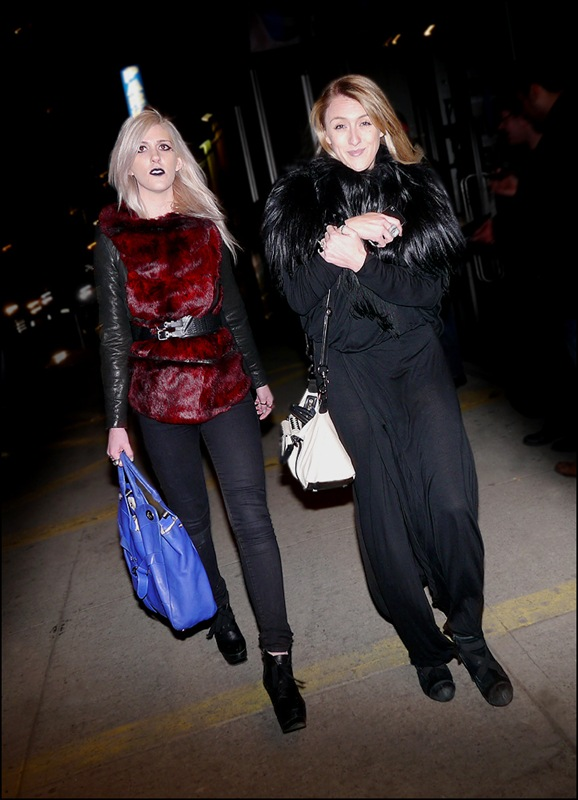 15 Emily Bache and Abigail Breslin red fur vest leather jacket black jeans all black with feather cowl ol l