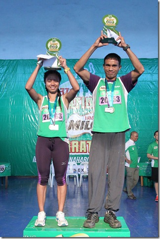 3 - Norlan Warizal and Bernardita Mag-Aso topped the 21-K category at the 37th National MILO Marathon Puerto Princesa qualifiers.