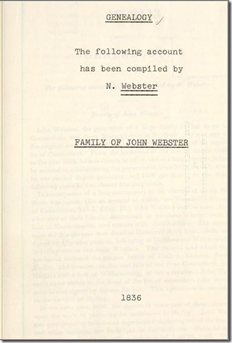 Compiled Genealogy of the Family of John Webster by Noah Webster